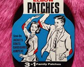 Vintage 1950s, 1960s sew on Elbow Patches, Pop Art, mending accessory. Sewing, crafts, make do and mend ephemera.