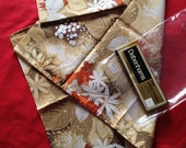 Pair of Vintage 1970s Floral Pillowcases, Unused in Original Pack. Brown and Orange, Debenhams, Bedding, Retro Home.