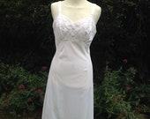 Vintage 1950s, 1960s Silky White Nylon Slip, or Nightie. Full slip, Petticoat. Lingerie, Underwear.