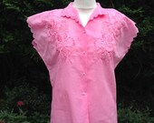 Vintage 1980s 1950s Style Hot Pink Blouse with Embroidery Detail.