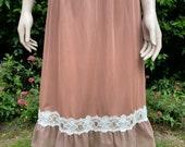 Vintage 1970s Brown and Cream Nylon Chiffon Waist Slip, Petticoat. Lingerie, Underwear.