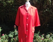 Vintage 1960s, 1970s Bright Red  Nylon Housecoat, Overall, Robe, Wrap, Duster Coat.
