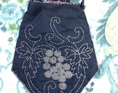 Vintage, Antique Victorian Edwardian Beaded Drawstring Bag. Evening Bag, Purse. Clutch Bag.
