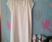 Vintage c. 1960s white nylon full slip, petticoat from Wonder Maid. Underwear, lingerie. Bridal, honeymoon.