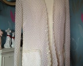Vintage Robe, Wrap, Jacket, Off White with Seqiuins. Sparkly Loungewear, Glamour, Evening Wear.