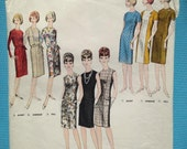 Vintage 1960s Vogue sewing pattern for Ladies 'Proportioned Dress'