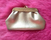Vintage 1960s Gold Vinyl Coin Purse, Vintage Accessory.