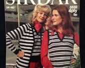Vintage 1970s Sirdar Knitting Pattern for Sweater, Tank Top, Cardigan.