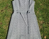 Vintage 1960s, 1970s Grey & Black Crimplene Dress. Mod, Smart  Dress.