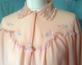 Vintage 1970s long peachy pink brushed nylon night dress.  Vintage Nightwear. Loungewear. Maxi Nightie.