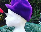 Vintage 1960s Purple Velvet Ladies Hat, Peaked Cap. Mod, Headwear, Vintage Accessory.