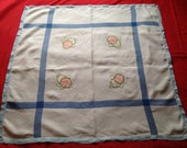 Vintage c. 1950s Cotton, Linen Tablecloth, White and Blue with Fruit Motif. Apples, Kitchenalia, Retro Home.