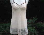 Vintage 1970s Nylon Cream & Chocolate Full Slip, Petticoat. String Vest Style, Cut Out Pattern. Lingerie, Underwear, Lounge Wear.