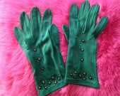 Pair of Vintage 1950s, 1960s Emerald Green Nylon Gloves with Diamante Detail, Ladies Accessories