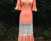 Vintage 1970s, 1930s style, Night Dress, Gown. Fitted Shape, Orange, Cream Lace. Nightwear, Loungewear, Retro Pin-Up.