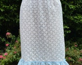 Vintage Dorothy Perkins Pale Blue & White Waist Slip, Petticoat. Lingerie, Underwear, Boudoir, Pin-Up.