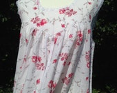 Vintage style nightie, night dress, baby doll with red roses. Czarina, vintage nightwear.