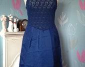 Vintage 1960s, 1970s Navy Blue Full Slip, Petticoat. Lingerie, Underwear, Lace, Pink Rosebud.