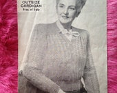 Vintage 1940s, 1950s Bestway Knitting Pattern for Ladies' 'Outsize' cardigan. Pattern no. 2174