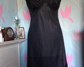 Vintage 1950s, 1960s black lace & nylon full slip, petticoat. From Vanity Fair, Lingerie, lounge wear, underwear