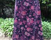 Vintage 1980s, 1990s St Michael Velvet Floral Skirt, Fully Lined.