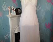 Vintage white St Michael full nylon slip, petticoat with lace. Lingerie, lounge wear, underwear, Bridal Wear.