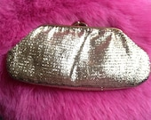 Vintage 1950s, 1960s Gold Purse,  Hand Bag,  Evening Bag,  Clutch, Vintage Accessory.