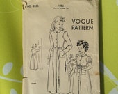 Vintage 1940s Vogue utility sewing pattern for girls dressing gown, housecoat