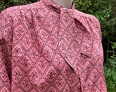 Vintage c. 1980s, 1990s Pink Eastex Pussy Bow Blouse.