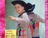 Vintage 1950s 'Big Chief' Knitting Pattern Booklet for child's Cowboy sweater, jumper.