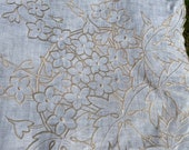 Vintage, Antique Cotton, Linen Tablecloth, Gold Embroidered Flowers, Kitchenalia, Retro Home.