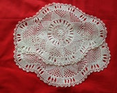 Pair of Vintage, Antique White Lace, Crochet Dressing Table Mats, Tray Cloths, Table Linen, Retro Home