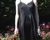 Vintage 1960s Black Nylon Vanity Fair Slip. Full slip, Petticoat. Lingerie, Underwear.