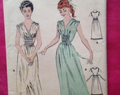 Vintage 1940s, 1950s Butterick sewing pattern for ladies nightgown. Sewing, craft, children's nightwear.
