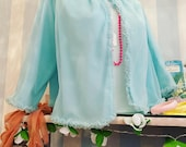 Vintage 1960s Pale Turquoise Blue Nylon Chiffon Bed-Jacket with Ruffles. Nightwear, St Michael.