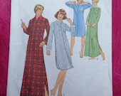 Vintage 1970s, 1980s Simplicity Simple-to-Sew paper sewing pattern for ladies and mens nightshirt in two lengths.
