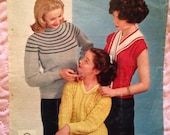 1950s Knitting Pattern for Ladies Jumpers, Sweaters, Stole. From 'Woman' magazine.