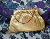 Vintage 1950s, 1960s Gold Purse,  Bag.  Hand Bag,  Evening Bag,  Clutch.  Vintage Accessory.