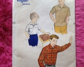Vintage 1950s, 1960s Vogue sewing pattern for boy's sport shirt. Size Small.