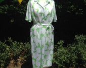 Vintage 1980s Dress, 1950s Style. Green and White. Shirt-Waister Dress, Swing Dress. Larger Size.