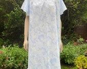 Vintage Style Pale Blue Floral Nightie, Baby Doll, Nightwear, Angel Sleeves, Nightdress, Nightgown.