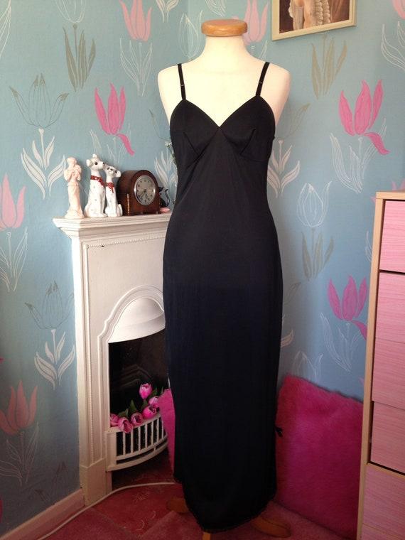 Vintage 1950s 1960s, black nylon full length slip,