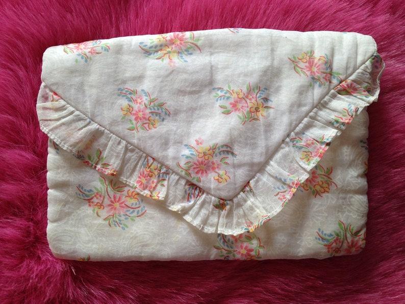 Vintage c. 1940s Handmade Hankie or Stocking Holder Bag image 0