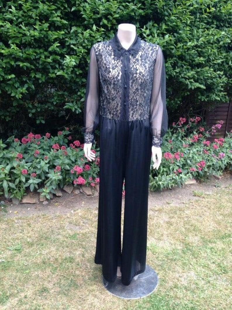 Vintage 1960s 1970s Black Nylon & Lace Trouser Suit image 0