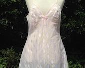 Vintage 1960s 1970s Pale Pink Nylon Full Slip, Petticoat. Lingerie, Underwear, Lounge Wear. Prova.