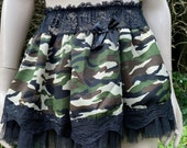 Vintage c. 1990s Short Mini Skirt with Camouflage and Black Net. Girl Power, Burlesque, Show Girl.