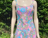 Vintage 1960s, 1970s Bright Floral One Piece Swim Suit in Pink & Purple, Bathing Costume, Beach Wear, Summer Holiday, Sports.