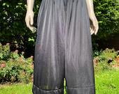 Vintage Ladies Culottes, Lounge Pants, PJ Trousers. Black Nylon & Lace, Wide Legs.