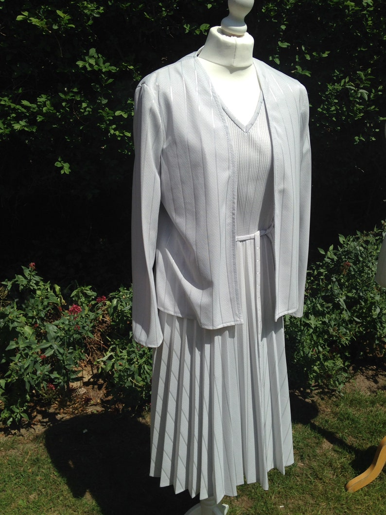 Vintage 1980s Two Piece Silver Dress and Jacket Suit from C & image 0