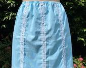 Vintage 1960s, 1970s Cotton Blend  Mini Waist Slip, Half Slip, Petticoat. Pale Blue and White, Lingerie, Underwear, Princess.